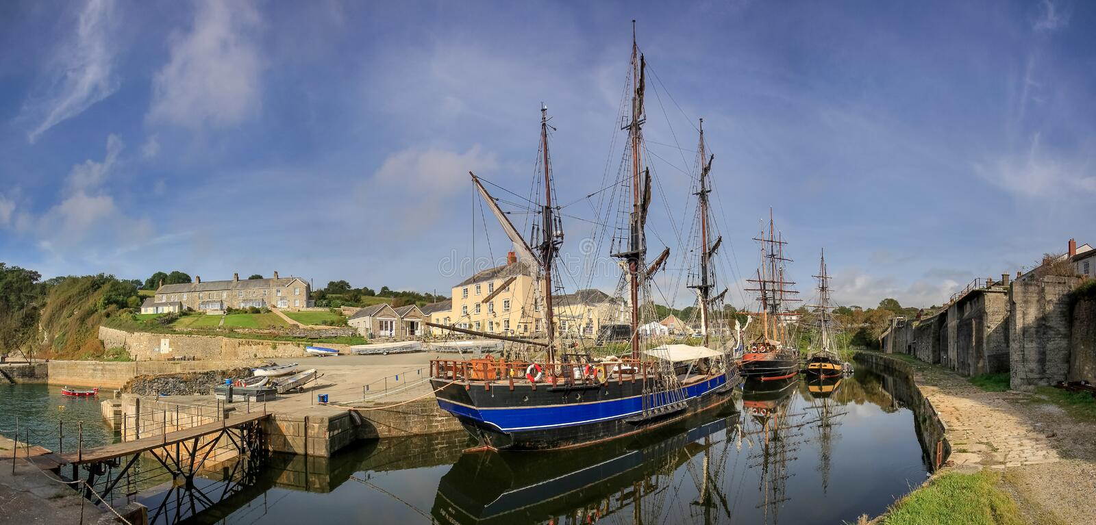 Tall Ships in Charlestown Harbour, Cornwall. Location for the filming of the television series Poldark stock photo