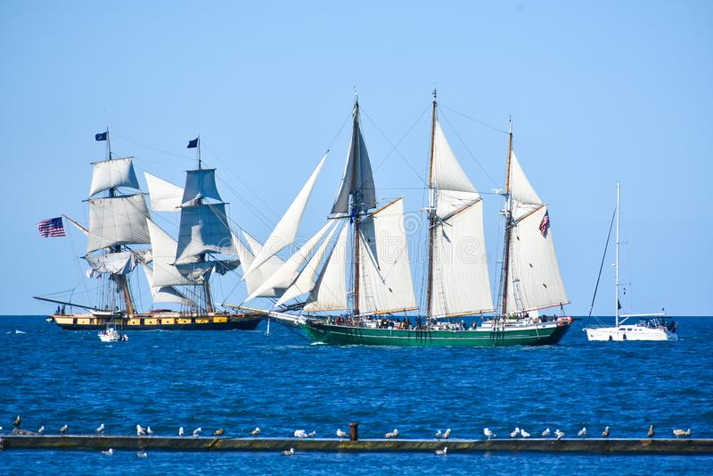 Tall Ships Parade On Lake Michigan in Kenosha, Wisconsin royalty free stock photos