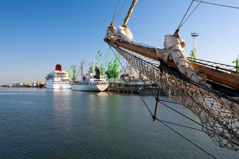 Download Tall ships in port stock photo. Image of nautical, crane - 11760690
