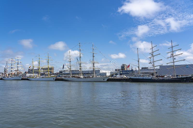 The tall ships Tenacious, Shabab Oman II, Mircea and ARM Cuauhtémoc during Sail on Scheveningen stock photos