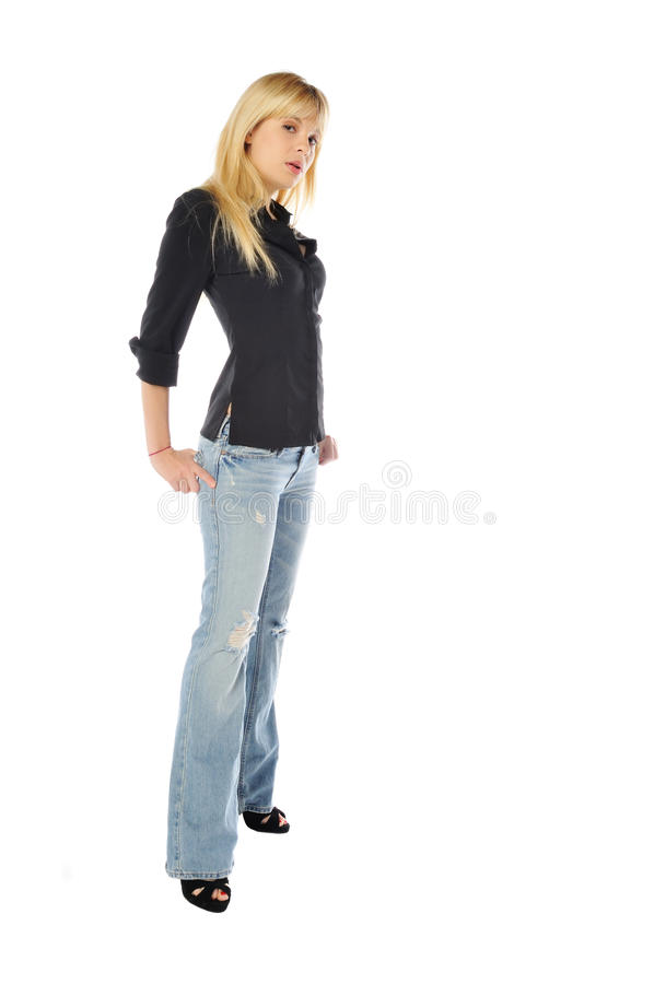 Tall skinny blond. Attractive tall skinny blond woman on a white background stock images