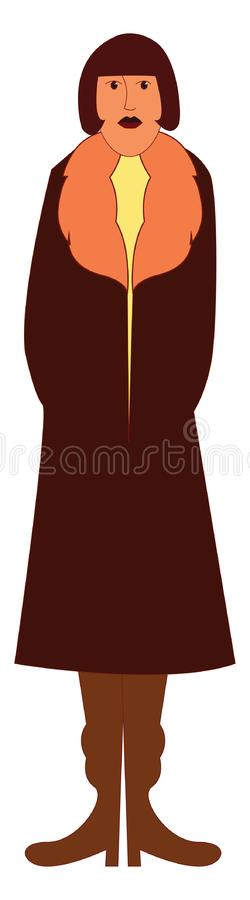 A tall woman in a long brown-colored coat vector or color illustration royalty free illustration