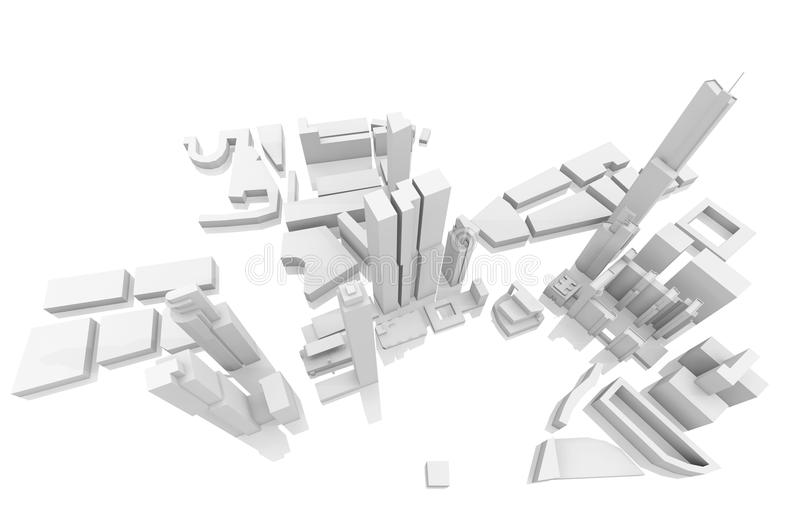 Tall skyscrapers on white, 3d render. Abstract schematic white cityscape with tall skyscrapers on white, 3d render illustration, bird eye view stock illustration