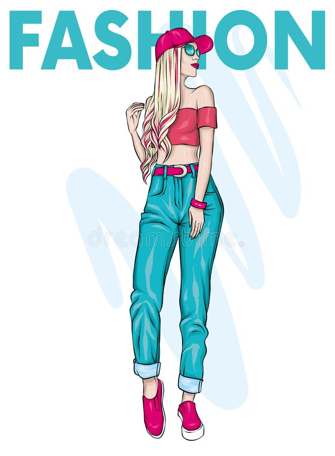 A tall slender girl with long hair in pants, top and cap. Stylish model. Fashionable look. Vector illustration for a postcard. stock illustration