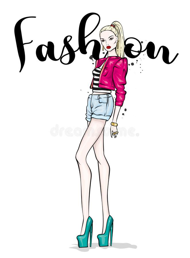 A tall slender girl in short shorts, a jacket and high-heeled shoes. Beautiful model in stylish clothes. stock illustration
