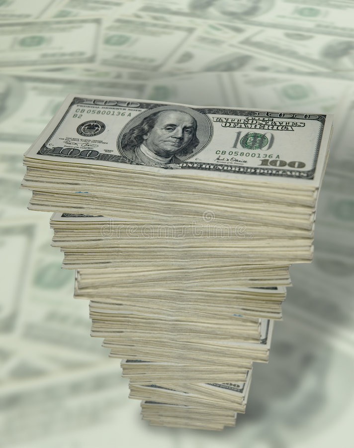 Tall stack of cash. stock image