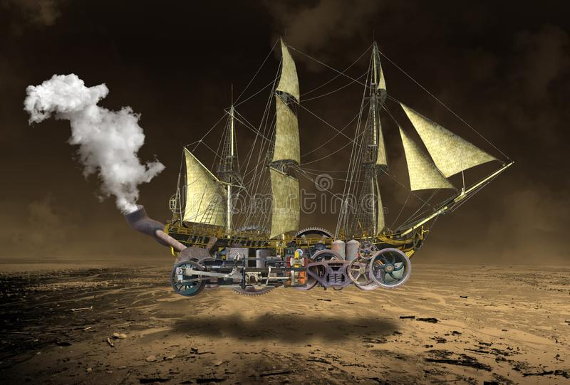Tall Steampunk Sailing Ship Surreal. Surreal tall ship steampunk sailing ship. The ocean vessel is flying above a desolate desert as it flies through the sky stock photo