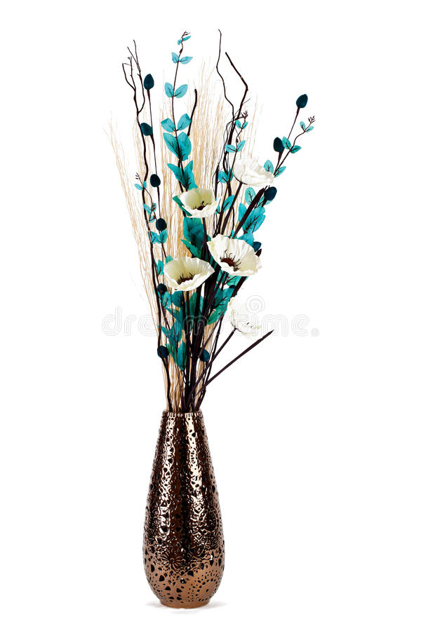 Tall stylish flower arrangement in a vase isolated stock photography