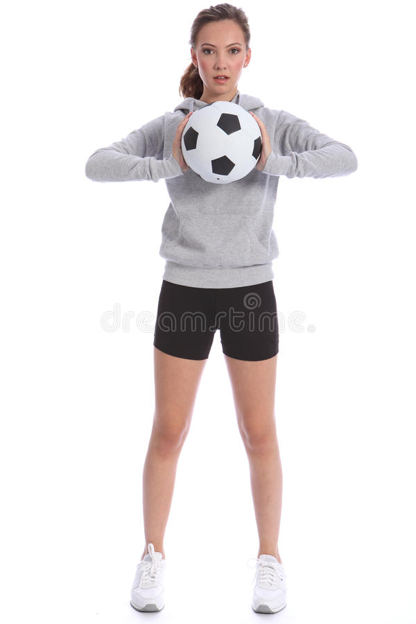 Free Tall Teenage Girl Soccer Player With Sports Ball Royalty Free Stock Image - 20833006