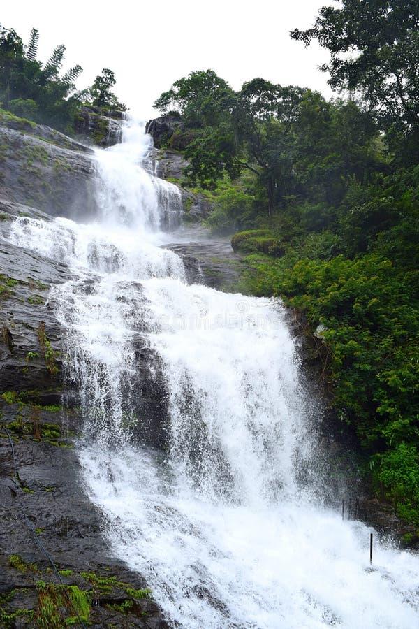 Tall Tiered Waterfall - Cheeyappara Waterfalls, Idukki, Kerala, India. This is a photograph of Cheeyappara waterfalls, which is on Munnar-Kochi Highway, Idukki stock photo