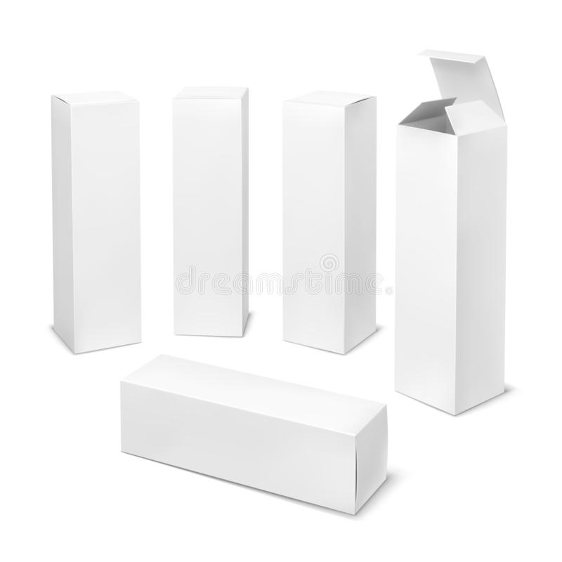 Tall white box. Cardboard cosmetic boxes rectangular blank package with shadows medicine product vertical forms royalty free illustration
