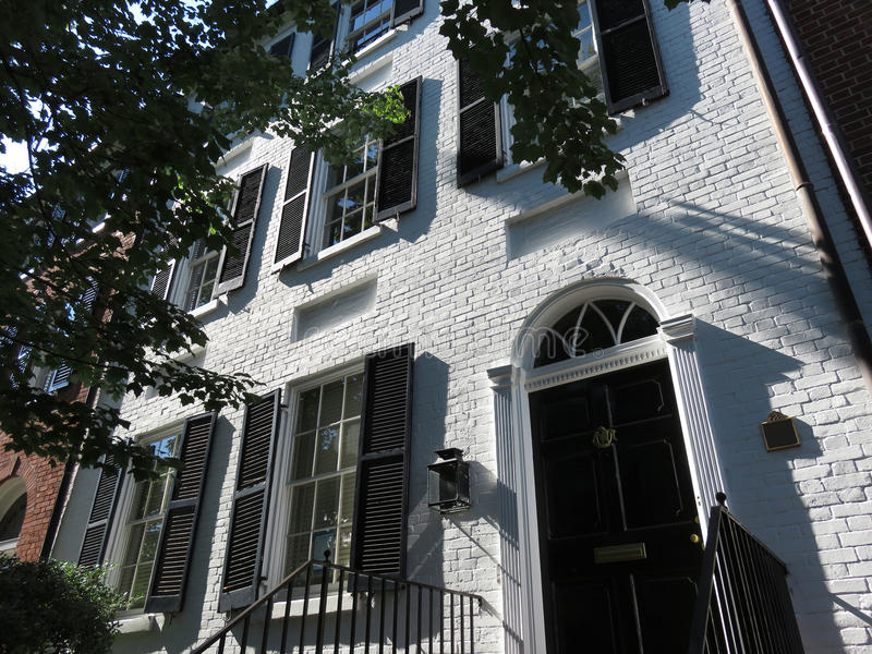 Tall White Brick Home in Georgetown of Washington DC royalty free stock photos