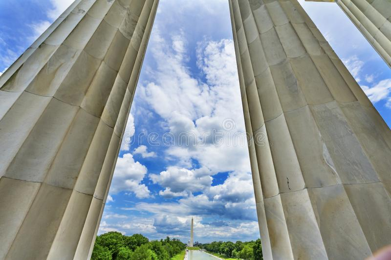 Tall Columns Washington Monument Capitol Hill Lincoln Memorial Washington DC stock image