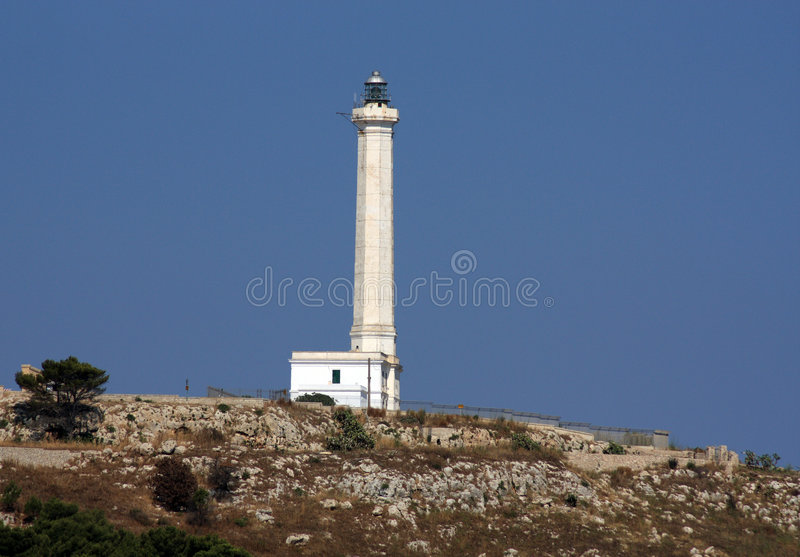 Tall white lighthouse stock image