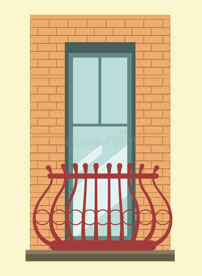 Free Tall Window With Small Elegant Balcony In Brick Wall Royalty Free Stock Photos - 100544448