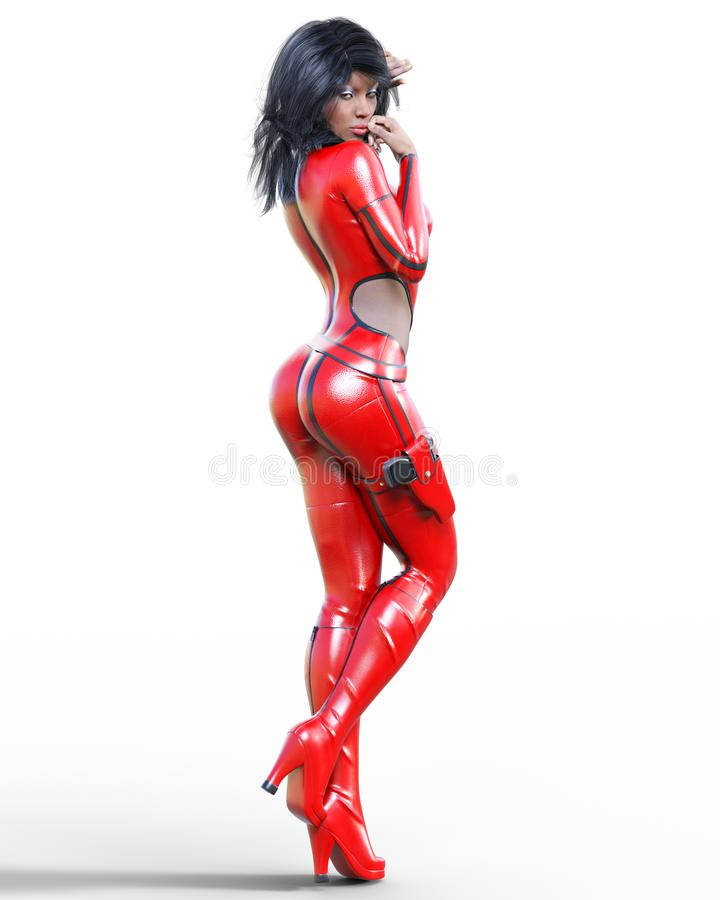 Tall woman in leather red bodysuit. stock illustration