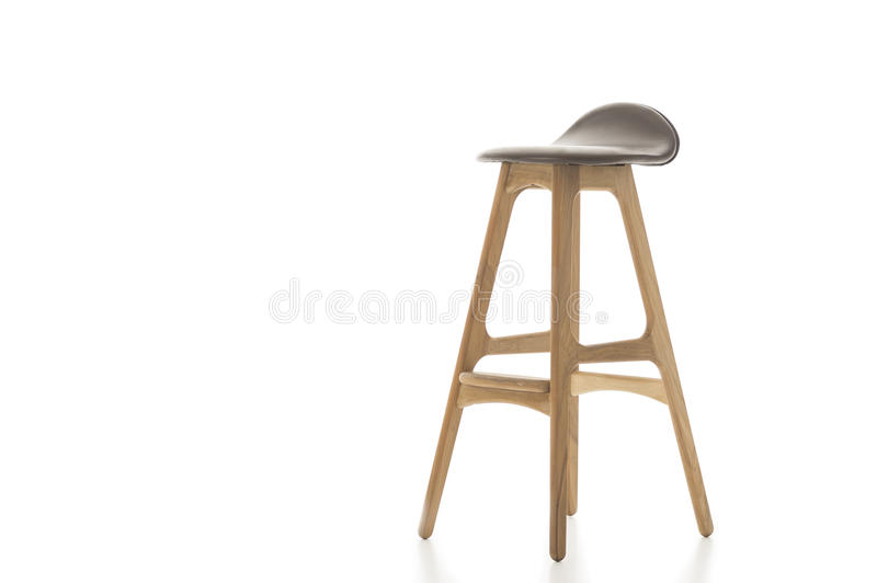 Tall Wooden Leg Stool on White royalty free stock image