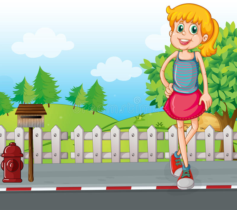 A tall young girl at the street near the mailbox stock illustration