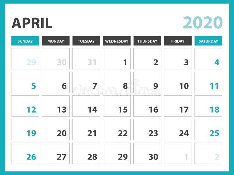 Talla 8 x de la disposici?n de calendario de escritorio 6 pulgadas, abril de 2020 plantilla del calendario, dise?o del planificad stock de ilustración