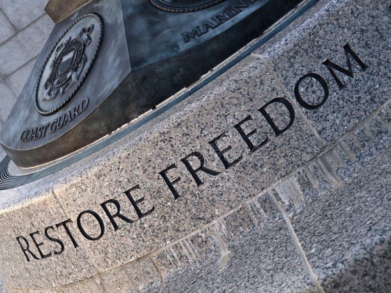 Talla de la libertad del Restore foto de archivo