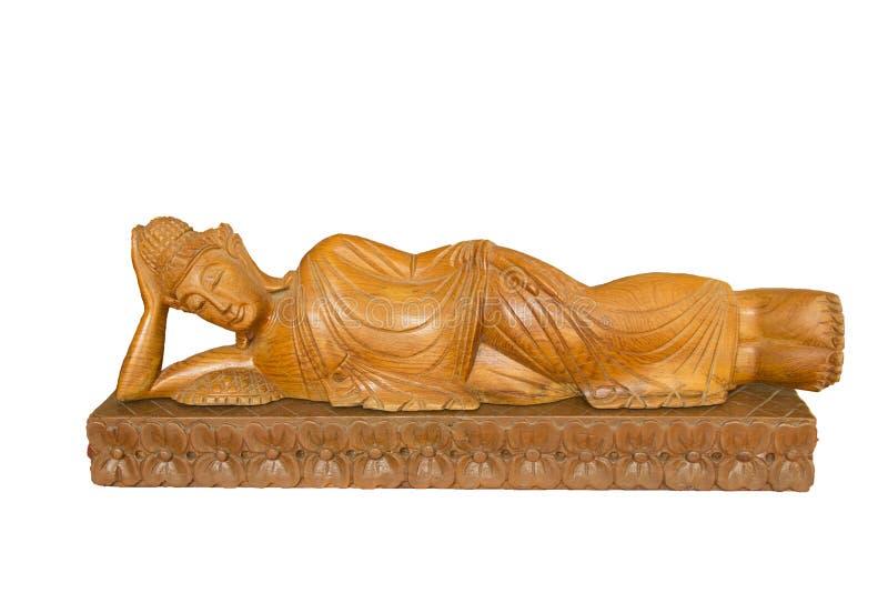 Talla de madera de Buda Talla de madera del estilo tailandés en el fondo blanco foto de archivo libre de regalías