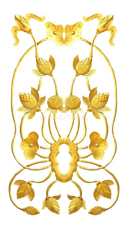 Talla de madera del loto de oro fotos de archivo libres de regalías