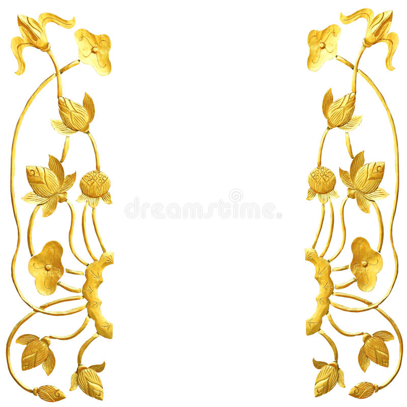 Talla de madera del loto de oro fotografía de archivo libre de regalías