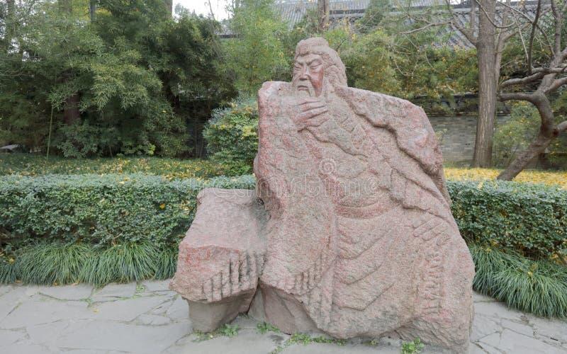 Talla de piedra de Guanyu en el jardín de taoyuan del templo del wuhou, adobe rgb foto de archivo libre de regalías