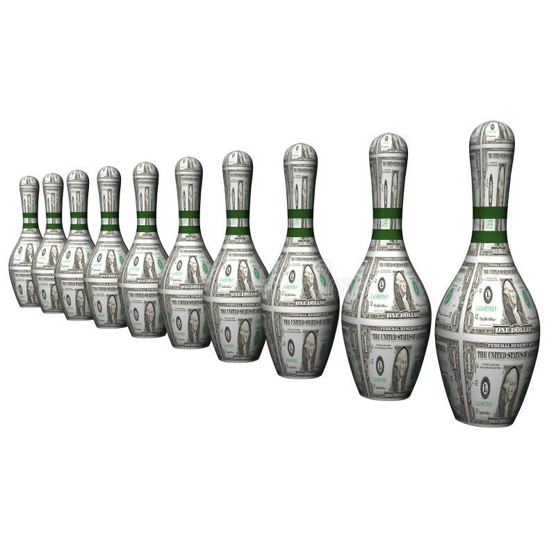 Talla del dólar del bowling stock de ilustración