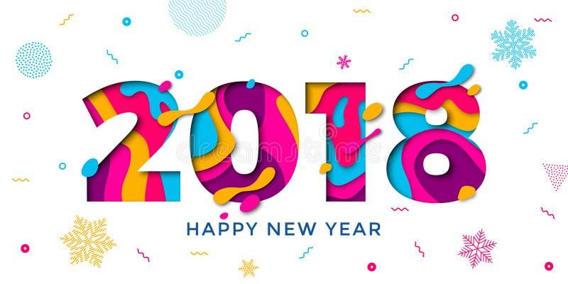 Talla del texto del papel del vector del fondo de 2018 de la Feliz Año Nuevo de felicitación copos de nieve de la tarjeta stock de ilustración