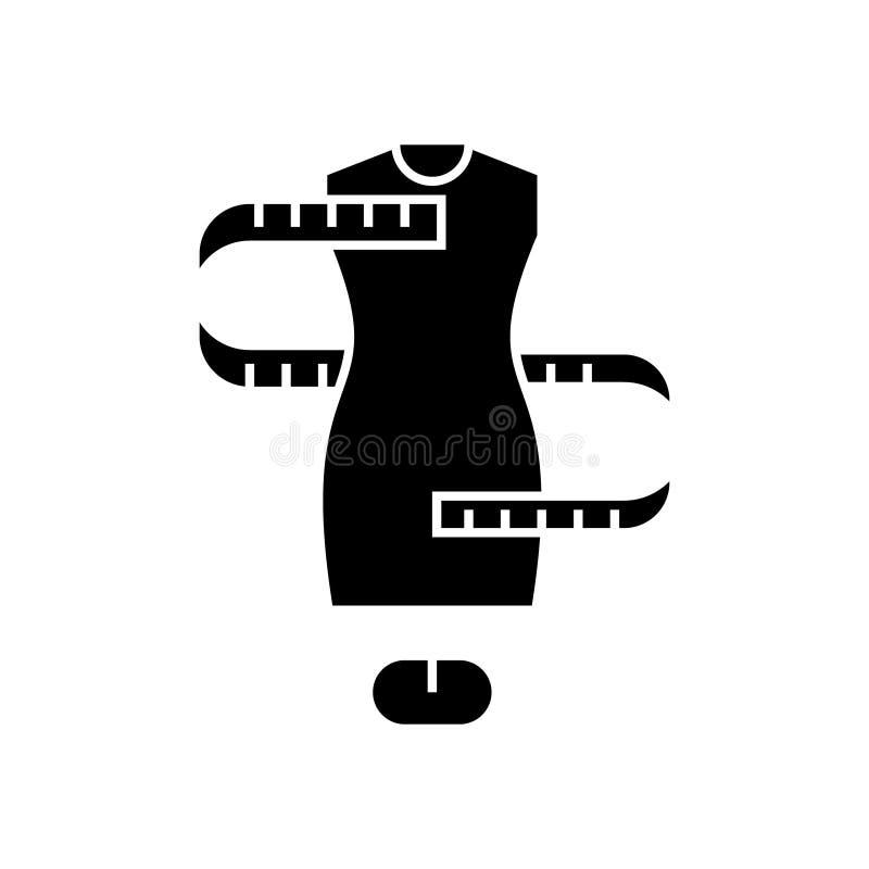 Talla del vestido - apresto - icono, ejemplo del vector, muestra negra en fondo aislado ilustración del vector