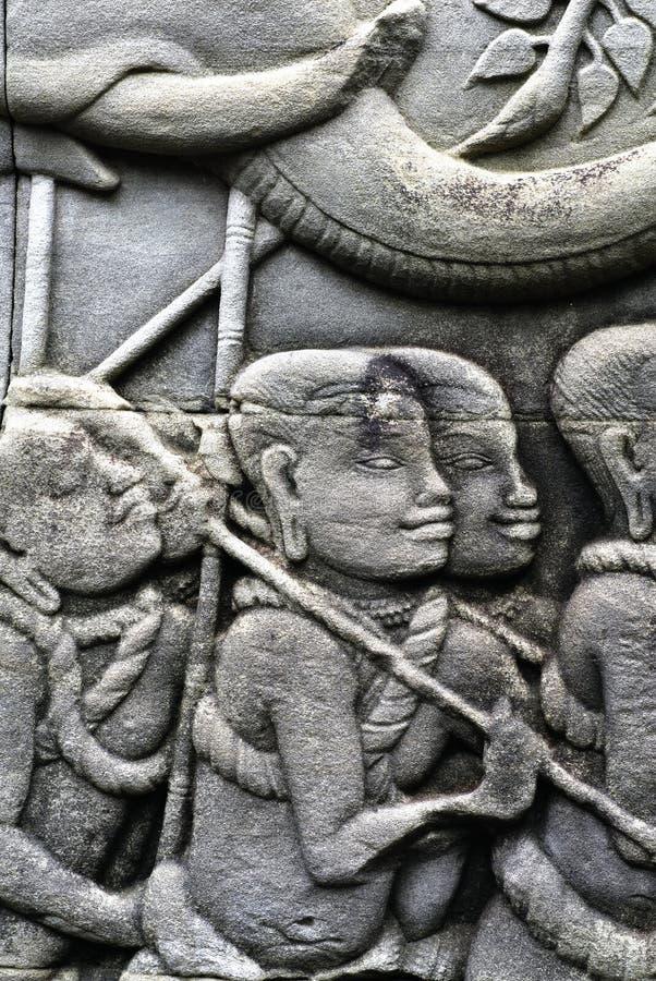 Talla en las paredes de Angkor Thom fotografía de archivo