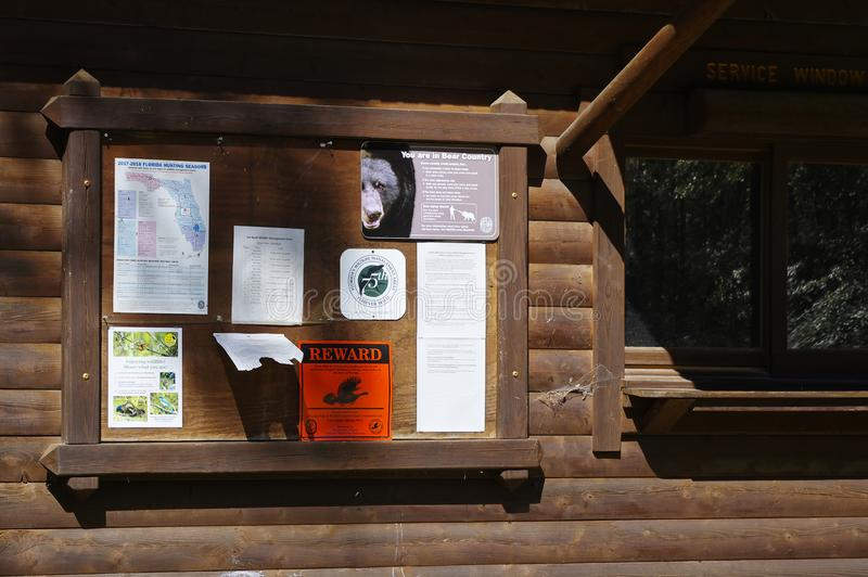 The information board at Place picnic at Lake Talquin State Park and Forest. Florida stock images