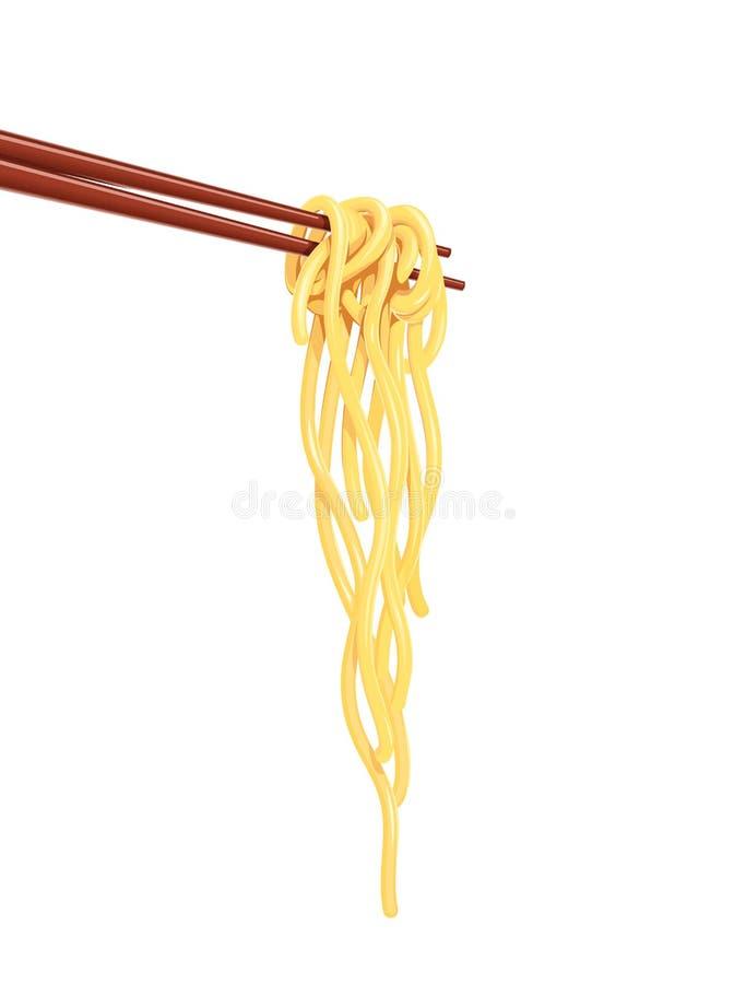 Tallarines chinos en el vector de la comida de la comida rápida de los palillos stock de ilustración
