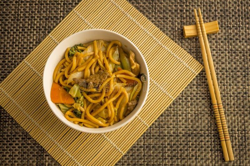 Tallarines fritos Yakisoba Comida asiática de la cocina fotografía de archivo libre de regalías
