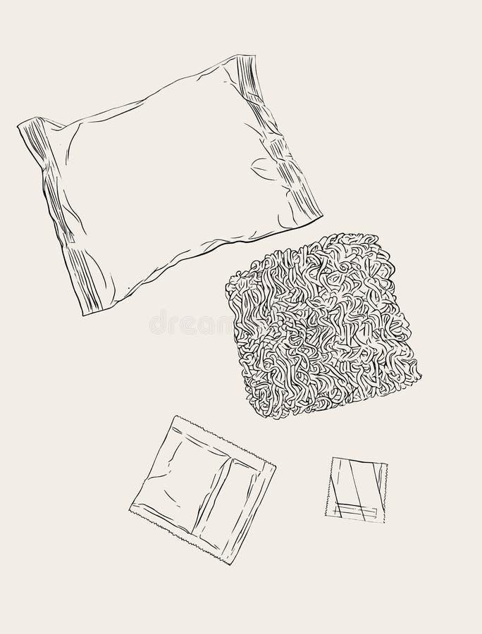 Tallarines inmediatos fijados, bosquejo stock de ilustración