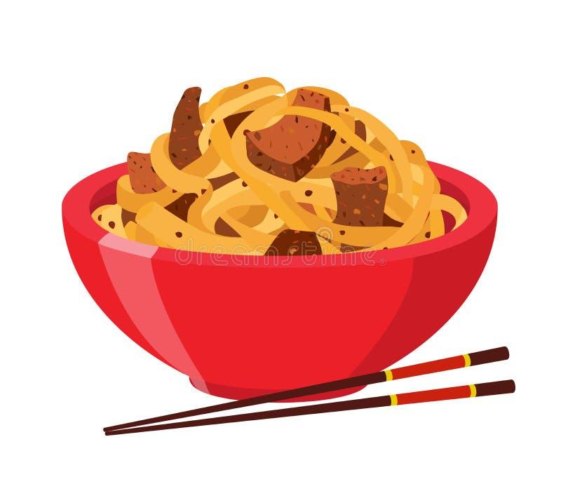 Tallarines japoneses, chinos, comida de los ramen, tallarines asiáticos Estilo plano de la historieta Ilustración del vector stock de ilustración