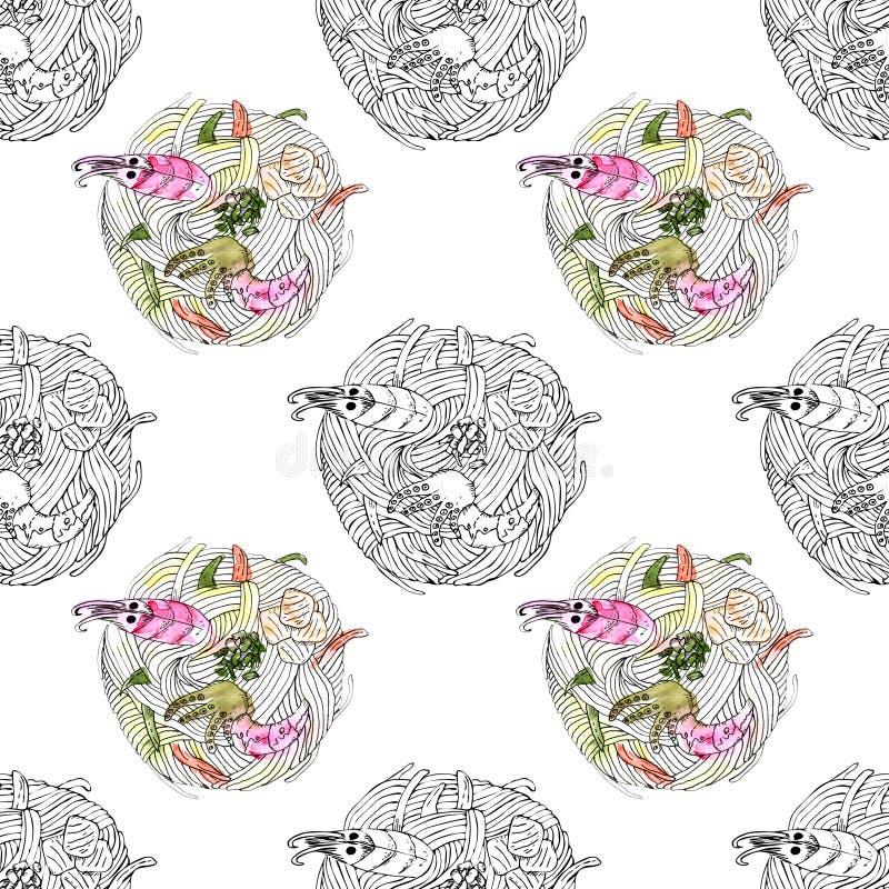 Tallarines japoneses del udon de la comida con la acuarela inconsútil del modelo de los mariscos ilustración del vector