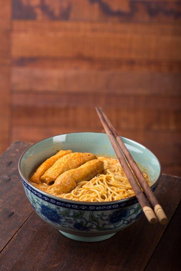 Tallarines picantes de Laksa del curry imagen de archivo libre de regalías