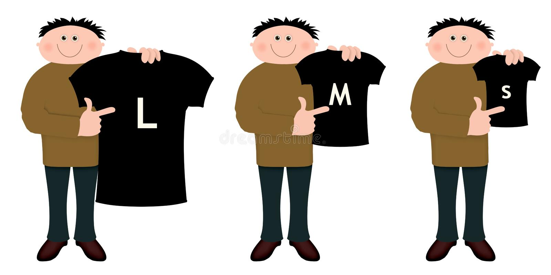 Tallas de la camisa ilustración del vector