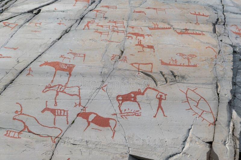 Tallas de la roca en Alta, Noruega imágenes de archivo libres de regalías