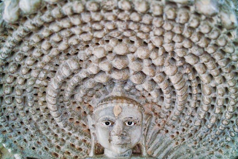 Tallas de piedra en el templo Jain de Ranakpur, Rajasthán, la India En octubre de 2009 foto de archivo libre de regalías