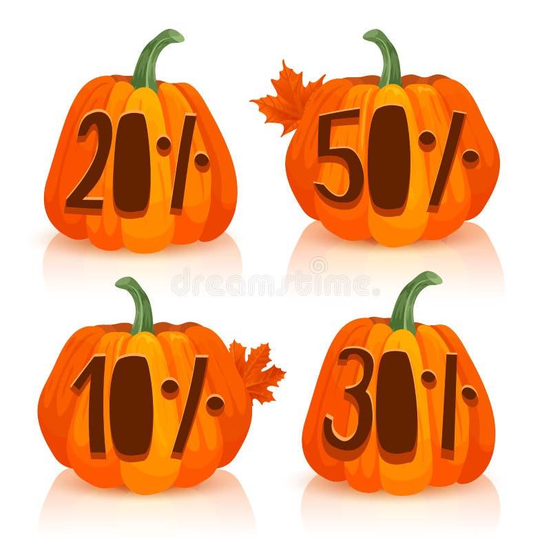 Talle una calabaza para la venta del otoño El diseño de calabazas anaranjadas con descuentos del por ciento Fije la calabaza para libre illustration