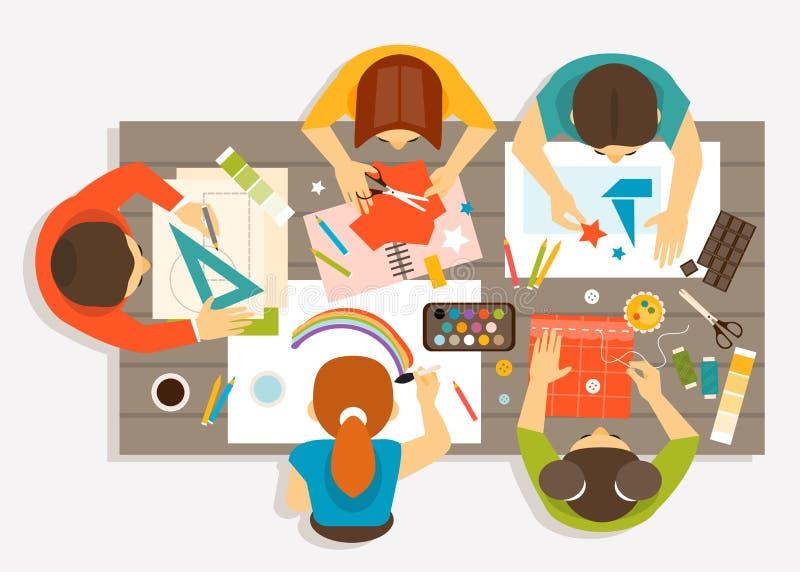 Taller creativo para los niños Ilustración del vector stock de ilustración