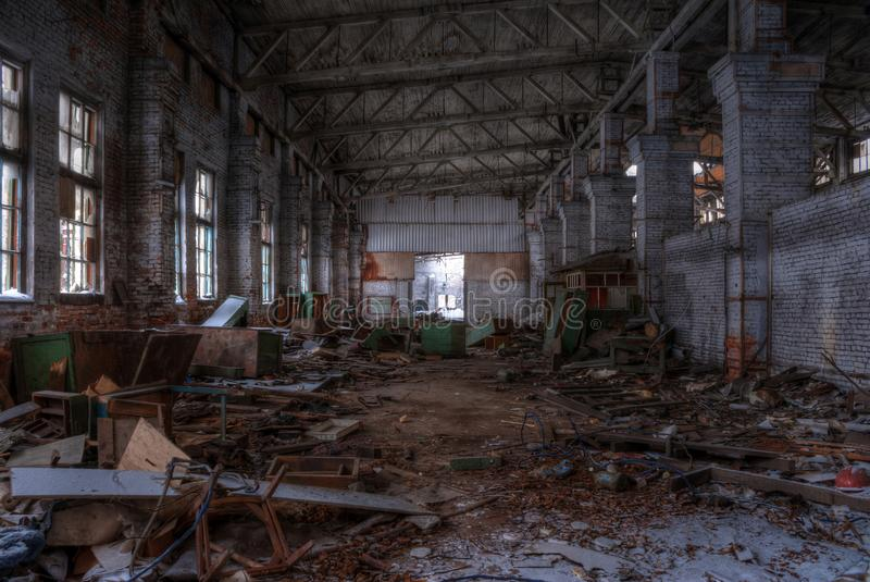 Taller de la fábrica abandonada, HDR imagen de archivo libre de regalías