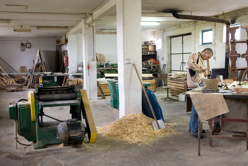 Taller del carpintero. imagen de archivo