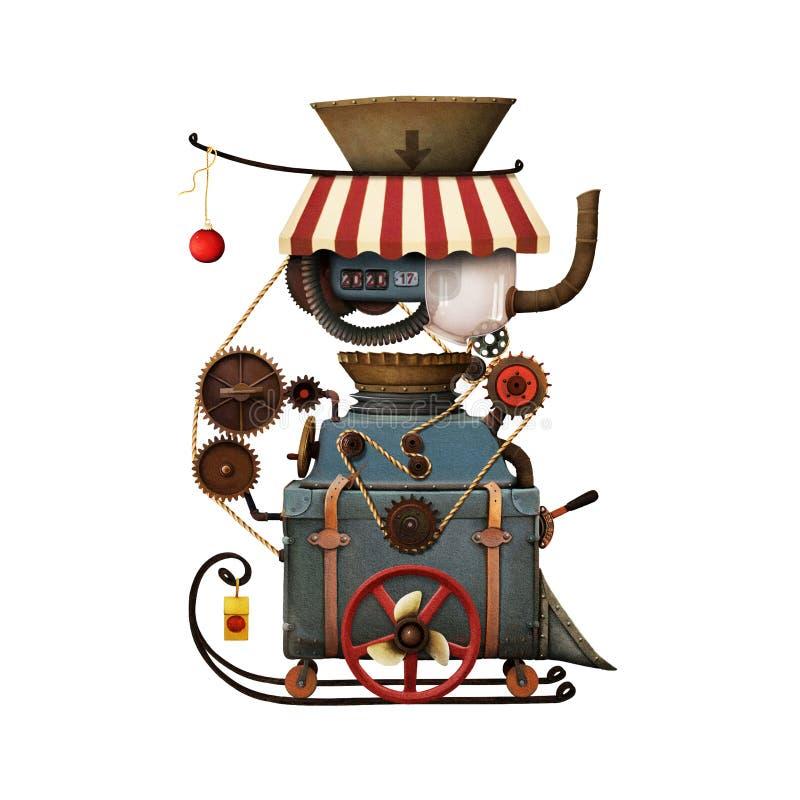 Taller del ` s de Papá Noel de la máquina stock de ilustración