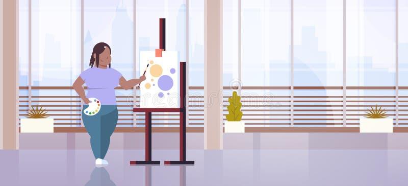 Taller gordo afroamericano del arte de proceso de pintura del artista de la muchacha de la mujer del pintor de la brocha obesa gr stock de ilustración