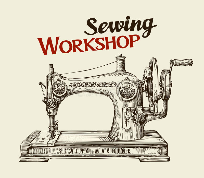 Taller o tienda de costura del sastre Máquina dibujada mano del vintage Ilustración del vector libre illustration