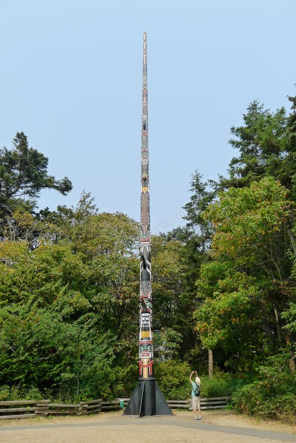 Tallest Totem Pole. World`s tallest Totem Pole, Beacon Hill Park, Victoria, BC. Carved by Mungo Martin, David Martin, and Henry Hunt. Dedicated 2 July, 1956 stock photography